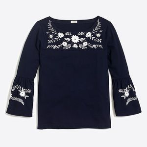 JCREW Embrodiered Navy Bell Sleeve T Short